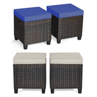 Patio Rattan Ottoman Cushioned Seat - 2 Pieces-Furniture-MerchMixer-thegsnd