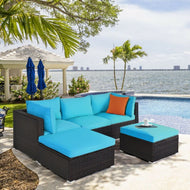 Patio Rattan Blue Sectional Ottoman Furniture Set - 5 Pieces-Furniture-MerchMixer-thegsnd