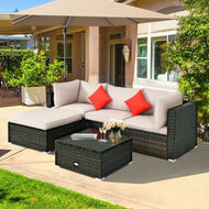 Rattan Outdoor Sectional Patio Set with Beige Cushions - 5 Piece-Furniture-MerchMixer-thegsnd