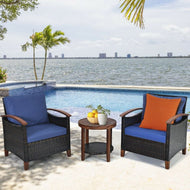 Solid Wood Frame Patio Rattan Furniture Set - 3 Pieces-Furniture-MerchMixer-thegsnd