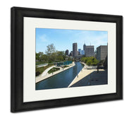 Framed Print, Water Canal In Downtown Indianapolis Indiana-Framed Print-Ashley Art Studio-thegsnd