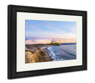 Framed Print, Long Beach MontaUK Point Light Lighthouse Long Island New York-Framed Print-Ashley Art Studio-thegsnd