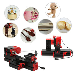 mini lathe machine DIY 6 in 1 Multi-functional metal wood lathe CNC tool Jigsaw Grinder Driller Plastic Lathe Drilling Sanding-Lathe Machine-thegsnd-thegsnd