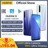 realme 6 Global Version 4GB RAM 128GB ROM Mobile Phone 90Hz Display Helio G90T 30W Flash Charge 4300mAh 64MP Camera Cellphone - thegsnd