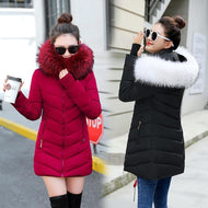 winter jacket women 2019 female coat Hooded Slim Outwear woman long parka Faux fox fur Cotton Padded abrigos mujer invierno - thegsnd