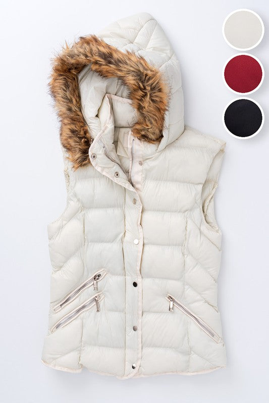 Puff Vest With Faux Fur Trim