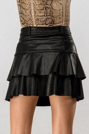 Faux Leather Ruffle Skirt - Black