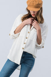 All About The Feels Linen Button Down Top - Ivory