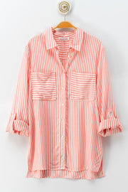 Stripe Button Down Shirt - Coral