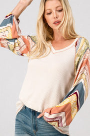 Gypsy Pattern Stripe Puff Sleeve Top
