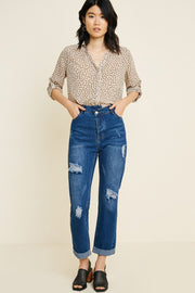 Collared Polka-Dot Button-Down Top