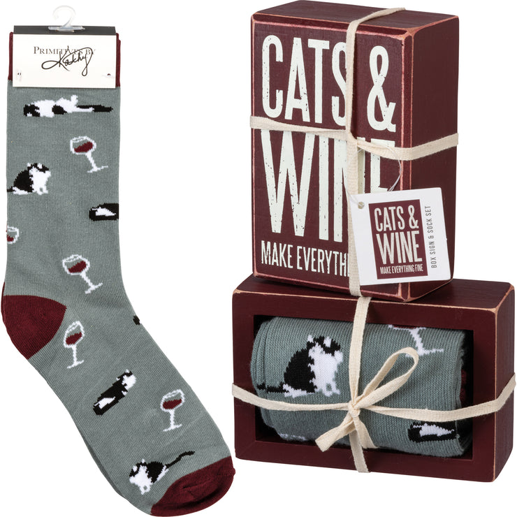 Box Sign & Sock Set - Cats And Wine