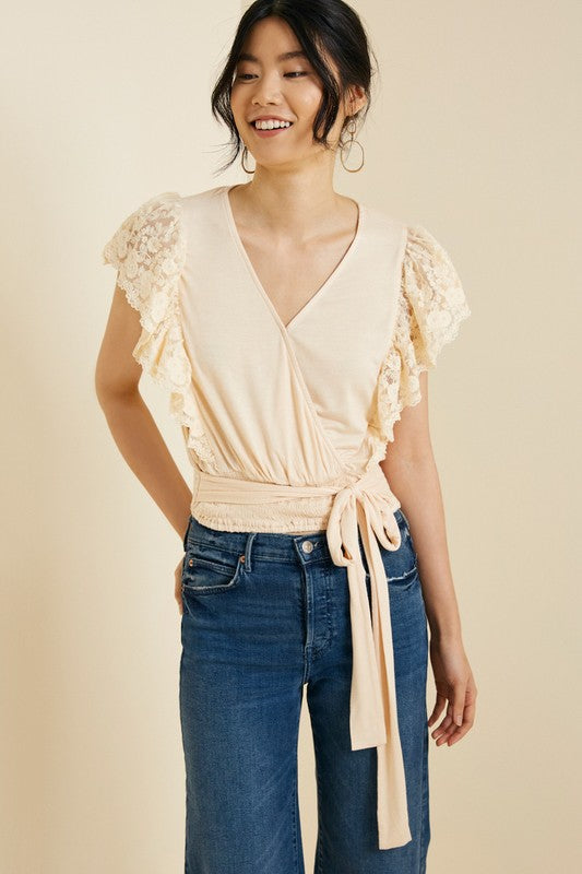 Lace Sleeve Surplice Top