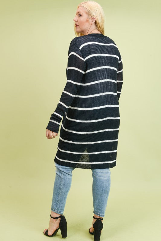 Ribbed Xtra Long Stripe Cardigan - Black/White