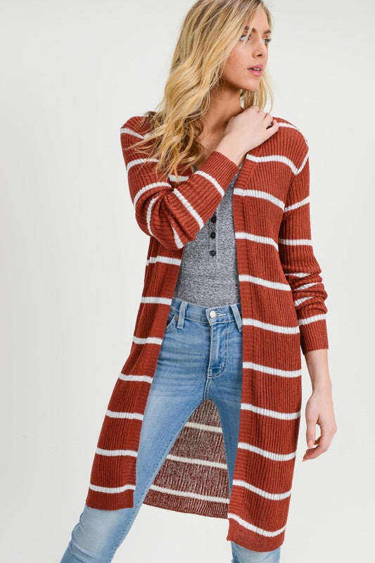 Ribbed Xtra Long Stripe Cardigan - Maroon/White