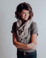 Knit Infinity Scarf - Heather Tan