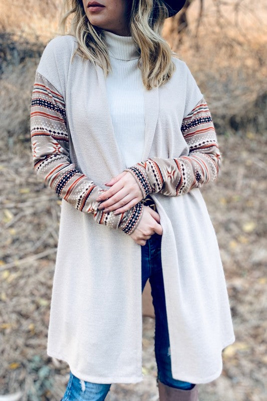 Multi Print Sleeve Long Cardigan