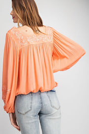 Embroidered Flouncy Top - Coral