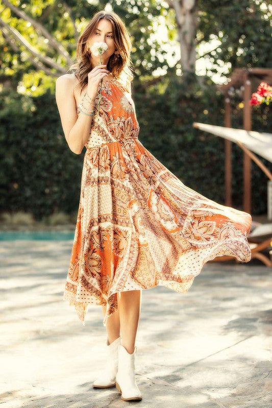 Paisley Print Halter Dress - Coral