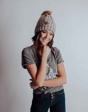 Furry Pom Pom Cuffed Beanie - Heathered Tan