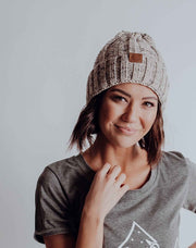 Rib Knit Cuff Beanie - Heathered Tan