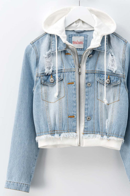 Hooded Denim Zip Up Cropped Jacket