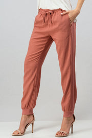 Rib Side Drawstring Linen Jogger Pants