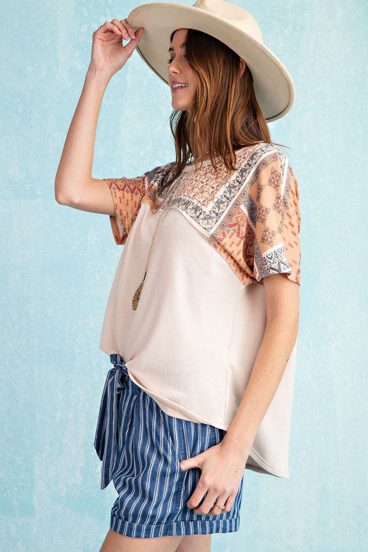 Tribal Print Terry Knit Babydoll Top