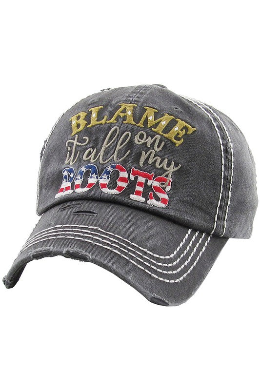 BLAME IT ALL ON MY ROOTS Washed Vintage Baseball Cap