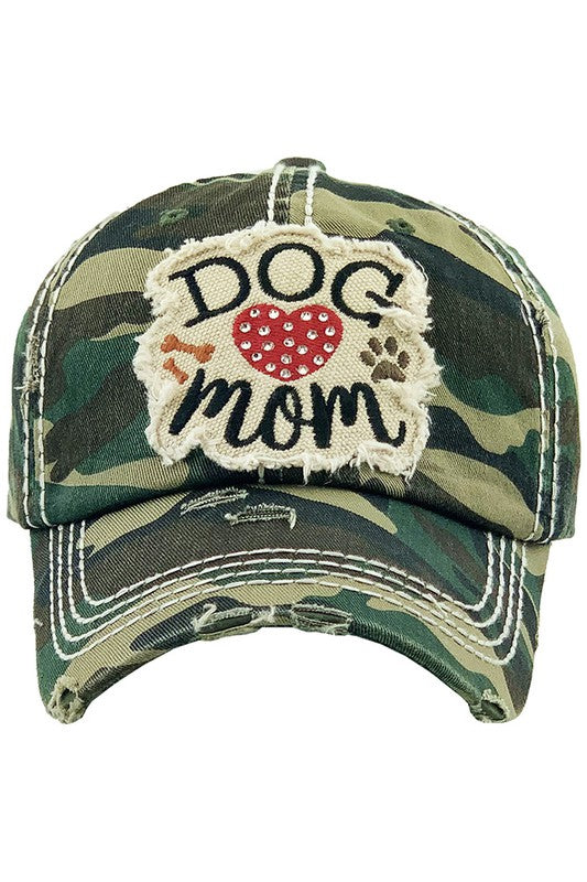 DOG MOM Washed Vintage Baseball Cap