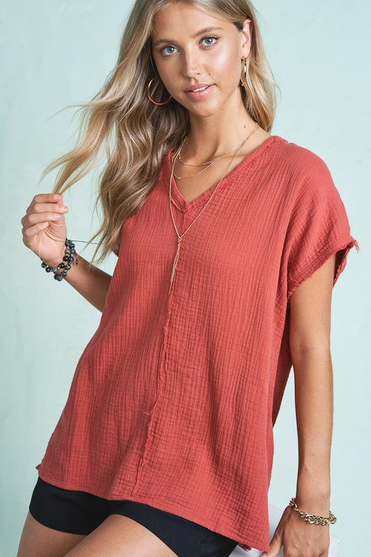 Summer V-neck Shorts sleeve Top