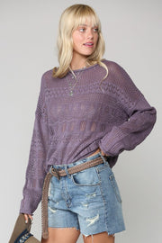 Pointelle Sweater with Dolman Sleeves