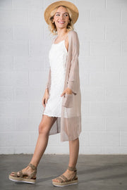 Semi Sheer Knit Cardigan - Taupe