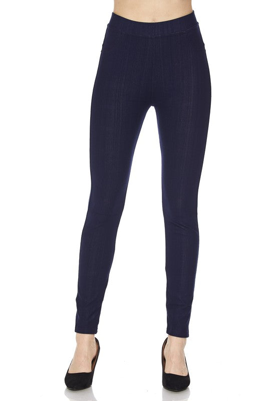 Premium Denim Back Pocket Ankle Leggings