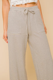 Wide Leg Striped Elastic Waist Pants