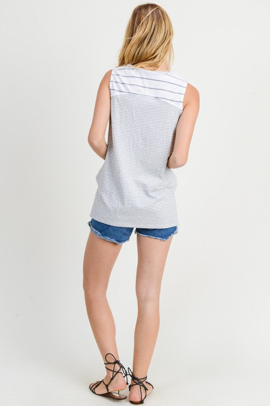Mixed Stripe Sleevelesss Top - Grey/White