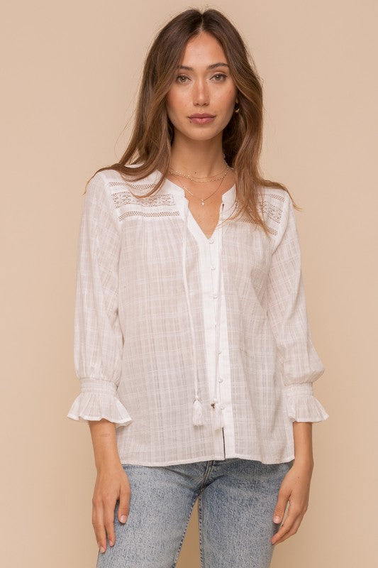 Angelica Lace Trimmed Blouse
