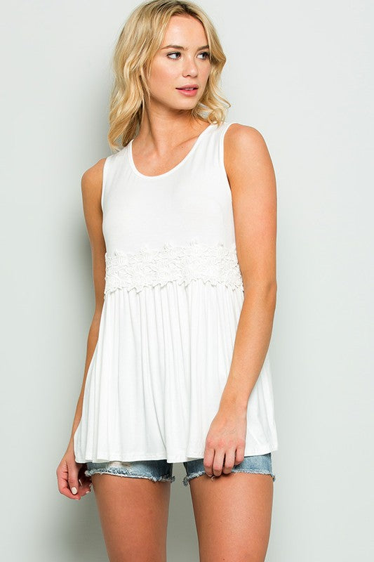 Crochet Lace Detail Tunic Top