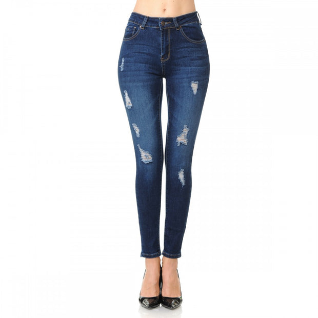 HIGH RISE 5-POCKET SKINNY WITH DESTRUCTION