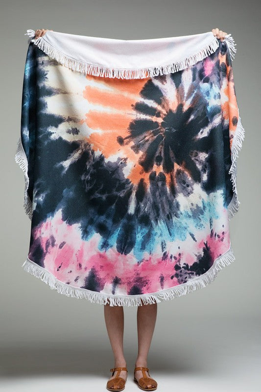 California Tie-Dye Round Beach Towel