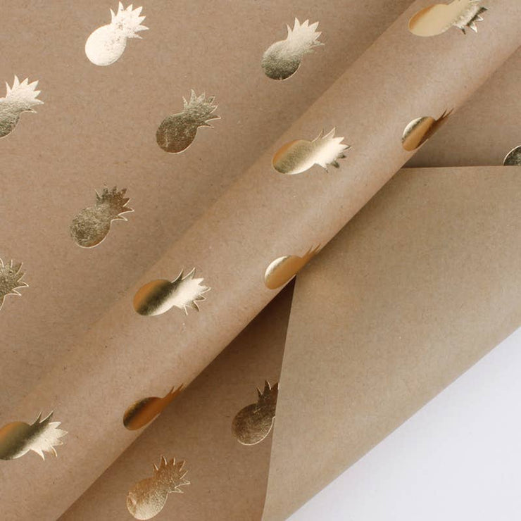 Pineapple Gold Foil Kraft Wrapping Paper Sheets
