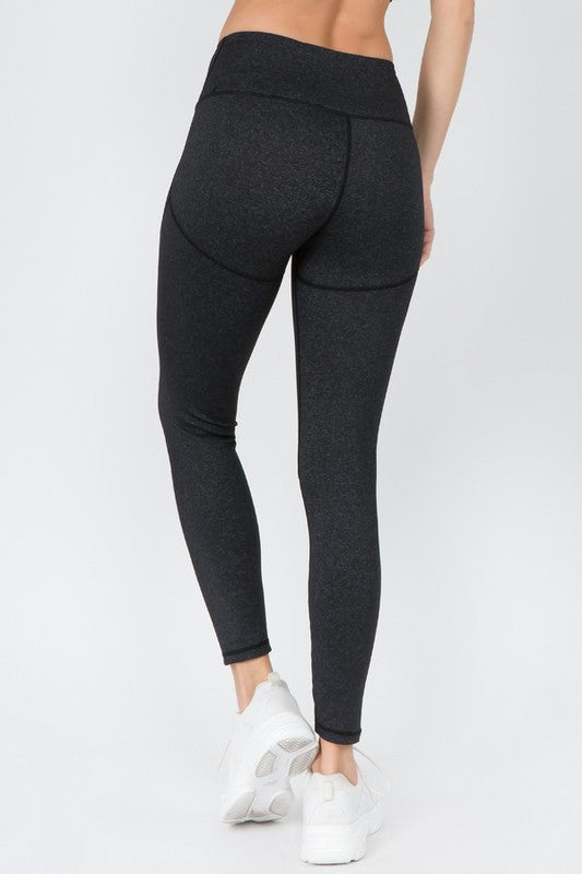 V-Waistband Heather Knit Workout Leggings
