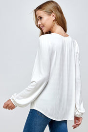 Long Sleeve Lace Insert Blouse