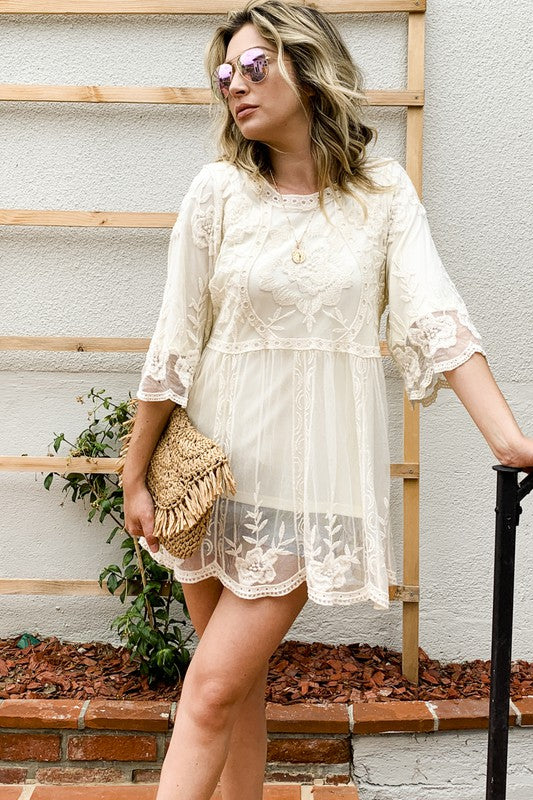 Floral Embroidered Mesh Tunic Top