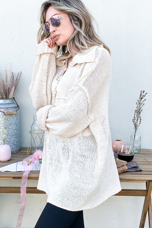 Wood Button Collar Sweater