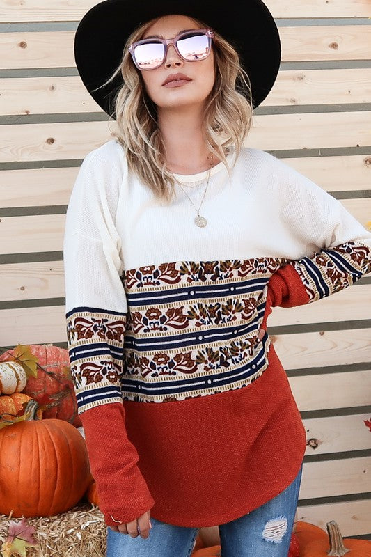 Ethnic Patterned Color Block Top