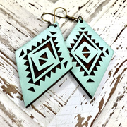 Avondale Wood Earrings - Ocean Mist