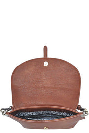 Flapover crossbody handbag - Tan