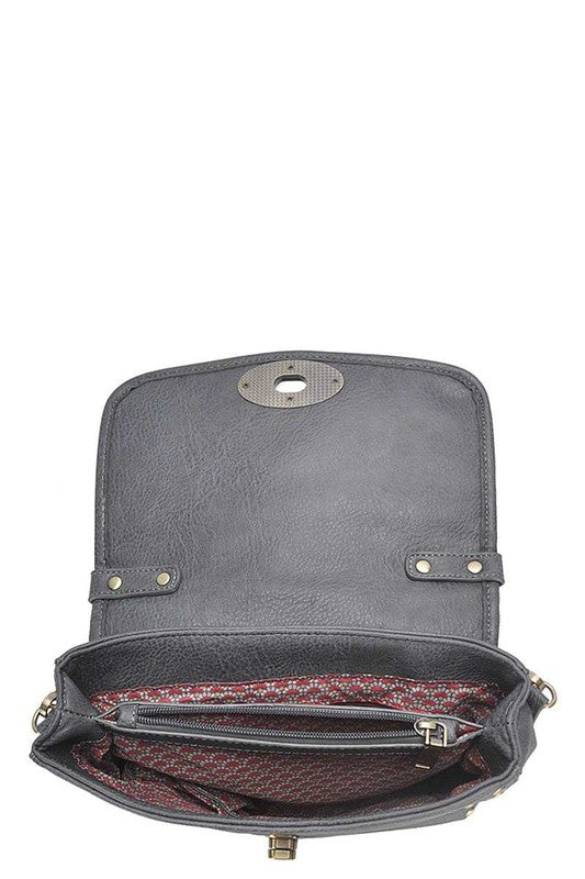 Studded and Woven Flap Crossbody Bag