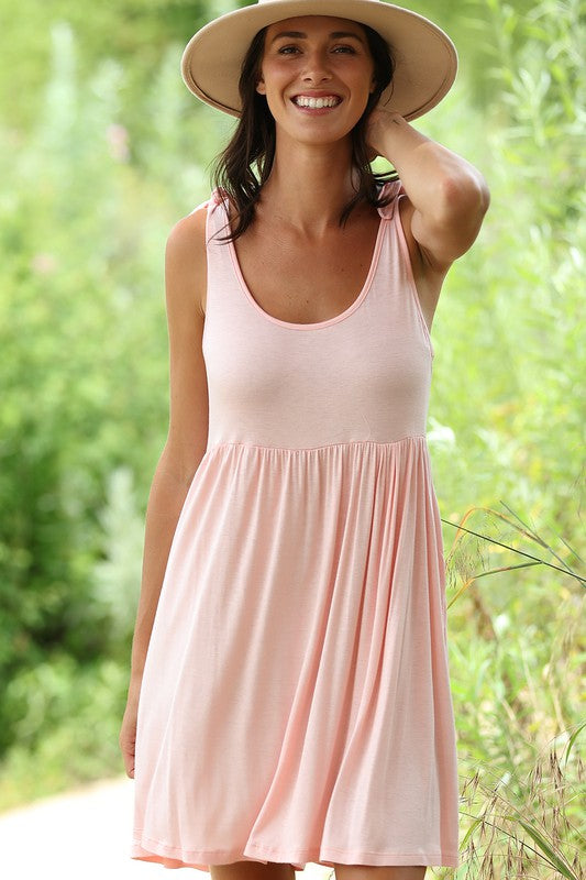 Sleeveless Dress W/Shoulder Tie